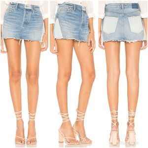 Free People Patched Denim Mini Skirt Blue 30